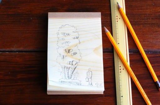 松の経木(きょうぎ)のメモ帳