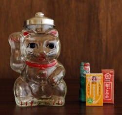 廣田硝子 招き猫 菓子びん