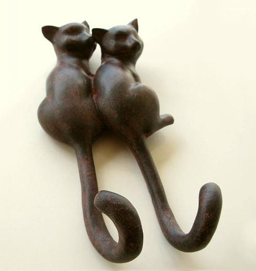 2匹の猫の壁掛けフック