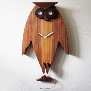 OwlPendulumClockフクロウ壁掛け時計