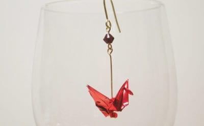 折り鶴ピアスkichijoji