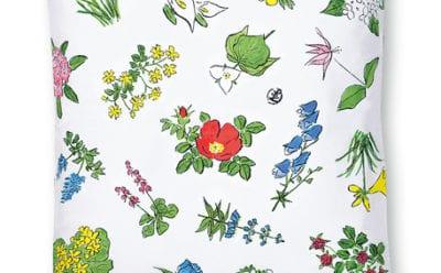 六花亭 包装紙の花柄クッションカバー