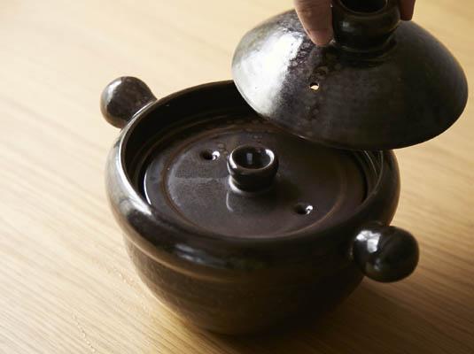 弥生陶園 丸ごはん土鍋 天目釉